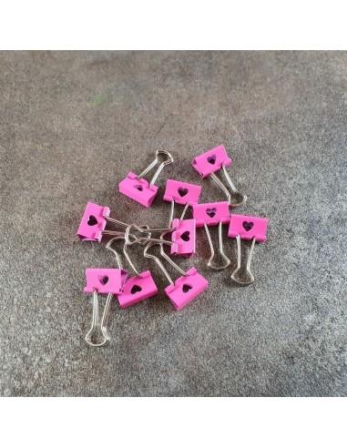 Lot 10 pinces doubles Coeur Rose MOCAT