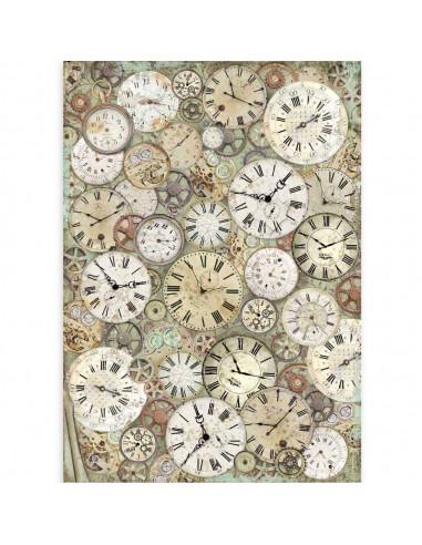 A3 - Papier de riz Horloge - Stamperia