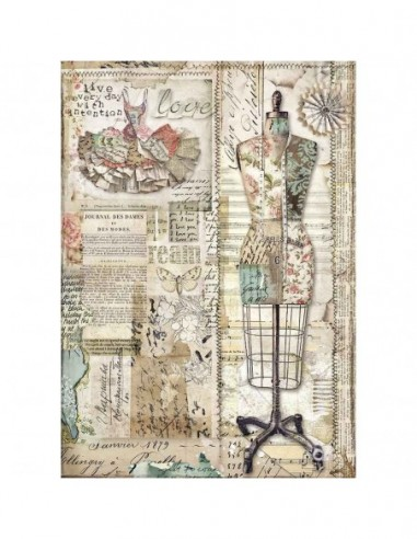 A4 - Papier de riz Couture - Stamperia