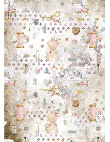 A4 - Papier de riz Fond Couture -...