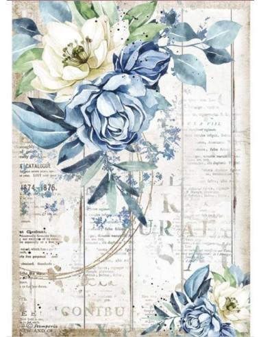 A4 - Papier de riz Fleur bleue -...
