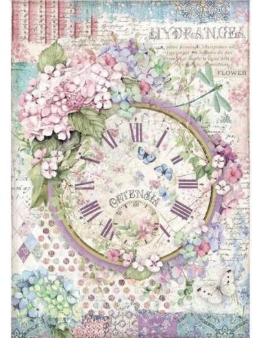 A4 - Papier de riz Horloge Fleurie -...
