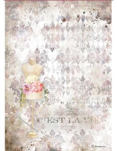A4 - Papier de riz Buste Couture -...